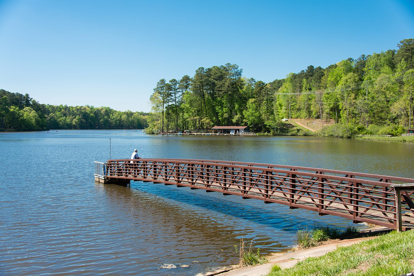 Bridge and lake at Umstead Park